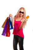 Young woman holding gift card Royalty Free Stock Image