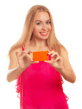 Young woman holding gift cards Stock Images