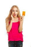 Young woman holding gift cards Royalty Free Stock Photo
