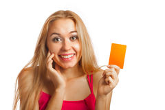 Young woman holding gift cards Royalty Free Stock Images