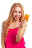 Young woman holding gift cards Stock Photo