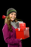 Young Woman Holding Gifts Royalty Free Stock Images