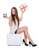 Young Woman Holding Gifts Stock Images