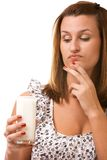 Young woman holding glass of milk Stock Photography