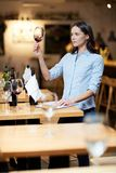 Sommelier working. Young woman holding a glass of red wine at restaurant Stock Photography