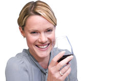 Young woman holding glass of wine, close-up, cut out Stock Image