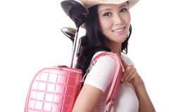 Young woman holding golf bag Stock Image