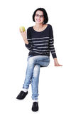 Young woman with green fresh apple Royalty Free Stock Image