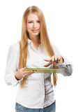 Young woman holding green pad Stock Photography