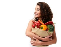 Young Woman Holding Grocery Paper Shopping Bag Full Of Fresh Vegetables. Diet Healthy Eating Concept Royalty Free Stock Photography