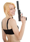 Young woman holding gun Stock Photography