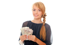 Young woman holding in hand cash money dollars Stock Photos