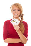 Young woman holding in hand poker card Royal Stock Photo