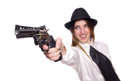 The young woman holding handgun isolated on white Stock Images