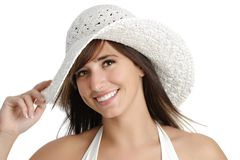 Young woman holding a hat Stock Photos