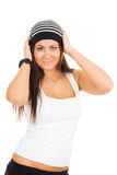 Young woman holding head with hands Royalty Free Stock Photography