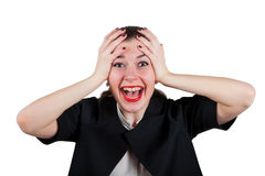 Young woman holding head and screaming happily Stock Images