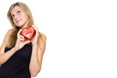 Young Woman Holding a Heart Royalty Free Stock Image