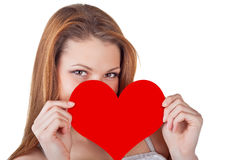 Young woman holding a heart Royalty Free Stock Photo