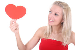 Young woman holding heart card Royalty Free Stock Photos