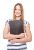 Young woman holding her application file Royalty Free Stock Photography