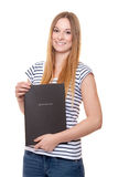 Young woman holding her application file Stock Photos