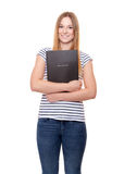 Young woman holding her application file Royalty Free Stock Images