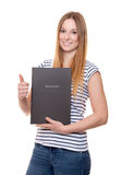 Young woman holding her application file Royalty Free Stock Photo