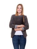 Young woman holding her application file Stock Photo