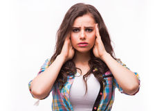 Young woman holding her head.Migraine and headache problem Royalty Free Stock Image