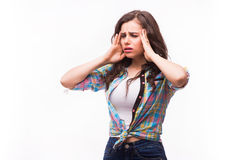 Young woman holding her head.Migraine and headache problem Stock Photos