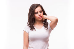 Young woman holding her neck in pain Royalty Free Stock Photography