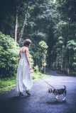 Young woman holding her puppy beagle dog in nature of tropical Bali island, Indonesia. Young woman holding her puppy beagle dog in nature of tropical Bali Stock Image