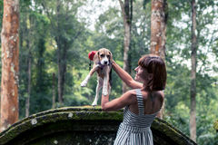 Young woman holding her puppy beagle dog in nature of tropical Bali island, Indonesia. Young woman holding her puppy beagle dog in nature of tropical Bali Royalty Free Stock Photography