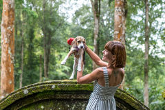 Young woman holding her puppy beagle dog in nature of tropical Bali island, Indonesia. Young woman holding her puppy beagle dog in nature of tropical Bali Royalty Free Stock Photo