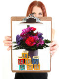 Young Woman Holding I Luv You Drawing royalty free stock images