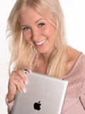 Young woman holding iPad Royalty Free Stock Photography