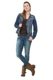 Young Woman Holding Jeans Jacket Royalty Free Stock Images