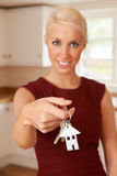 Young Woman Holding Keys To New Home Royalty Free Stock Photos
