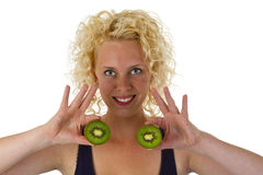 Young woman holding Kiw Fruit Royalty Free Stock Photo