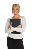 Young woman holding a laptop Stock Image