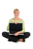 Young woman holding laptop Royalty Free Stock Photo