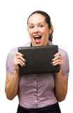 Young woman holding laptop Royalty Free Stock Image