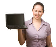Young woman holding laptop Royalty Free Stock Photography