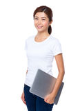 Young woman holding with laptop computer. Isolated on white background Stock Photos