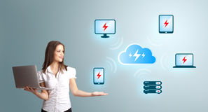 Young woman holding a laptop and presenting cloud computing netw Royalty Free Stock Image