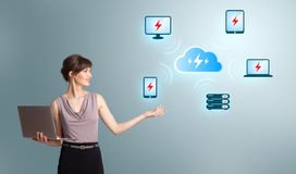 Young woman holding a laptop and presenting cloud computing netw. Beautiful young woman holding a laptop and presenting cloud computing network Royalty Free Stock Images