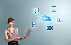 Young woman holding a laptop and presenting cloud computing netw. Beautiful young woman holding a laptop and presenting cloud computing network Royalty Free Stock Photos