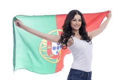 Young woman holding a large flag of Portugal Royalty Free Stock Photos