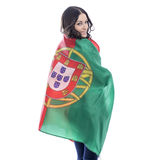Young woman holding a large flag of Portugal Stock Images